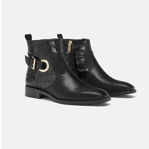 🆕 Zara Buckle Ankle Boot NWT